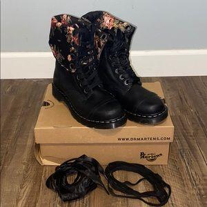 Dr. Martens Black Floral Patterned Combat Boots